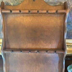 Vintage wooden souvenir spoon rack display
